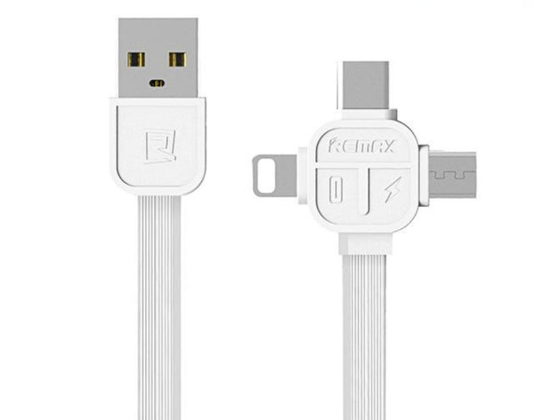 Multi Cable Charger, Remax 3ft / 1m Multiple USB 3 in 1 Lightning & Micro Type-C / USB-C Quick Charging Cable Cord for iPhone, Samsung and Other iOS and Android Devices - Tokyo Fashion