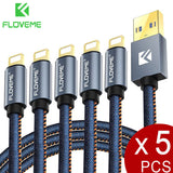 FLOVEME Lightning Cable 5Pack 1FT 3.2FT 6FT Denim USB Charging Cable For iPhone iPhone 8, X, 7, 7 Plus, 6, 6s, 6 Plus, 5, 5c, 5s, iPad, iPod - Tokyo Fashion