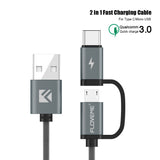 FLOVEME USB Cable Cell Phone Braided Cable [3.2ft] Fast Charging Cable For Samsung Galaxy S6, Samsung Galaxy S7, S8, HTC, LG, Nokia, Sony. 2 in 1 Mirco-USB & Type-C Phone Cable. [Gray] - Tokyo Fashion