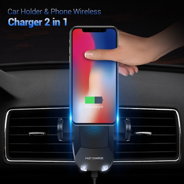 FLOVEME 5V/2A Qi Wireless Car Charger , 360 Degree Rotation Car Holder for Samsung Galaxy S8 S7 Edge NOTE 8 for iPhone X 8 Plus - Tokyo Fashion