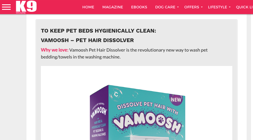 Vamoosh review: 'Best Dog Health Products' list