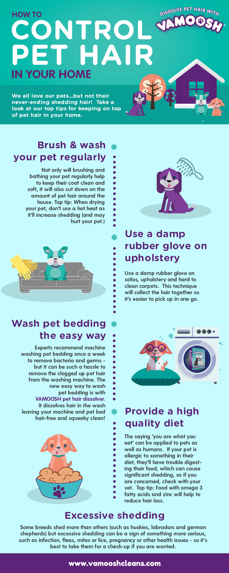 Vamoosh infographic How to control pet hair in the home