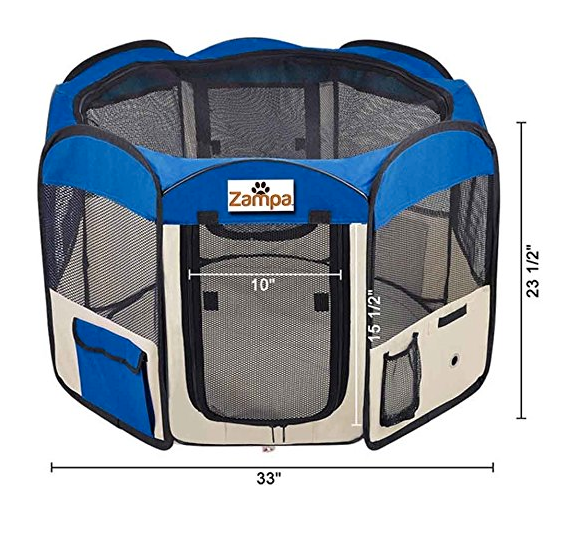 Portable Dog Kennel Playpen by Zampa - Foldable