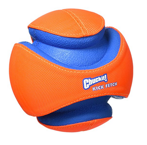 Kick Fetch Dog Toy Ball by Chuckit - Orange, Glow in the Dark Green