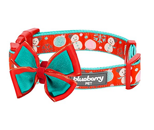 Holiday Christmas Dog Collar and Bowtie by Blueberry Pet - Assorted Colors/Sizes