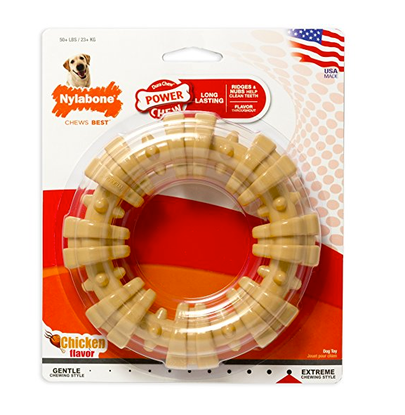 Ribbed Ring Chew Toy for Large Dogs by Nylabone
