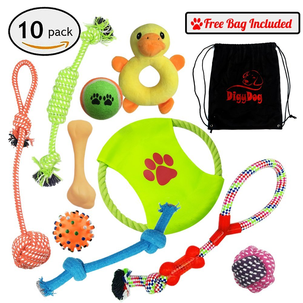 Dog ROPE Toys 10 Pack Gift Set + Free BONUS Bag