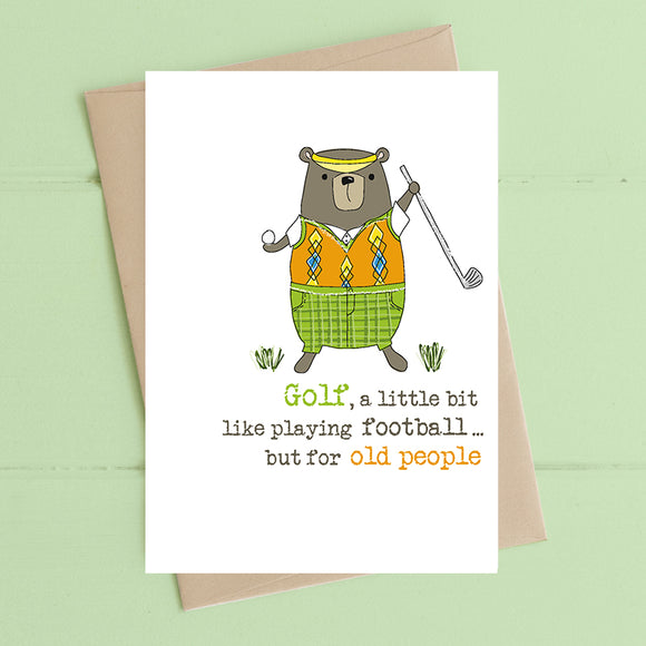 Golf Old People Card