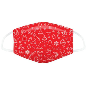 Red Xmas Icons Face Mask