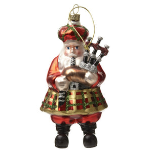 Glass Santa with Bagpipes Decoration