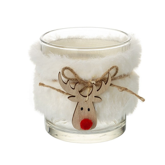 Tealight Holder with Reindeer Decoration