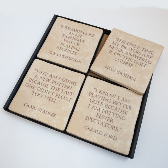 Vintage Golf Quote Coaster Set