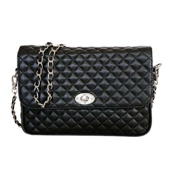 Esila Luxury Quilted and Hand-stitched Fine Leather Shoulder Bag with Chain Strap