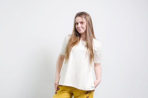 Ivory Basic T-Shirt with cuts on the sides