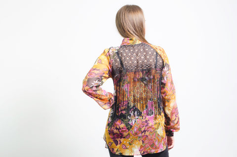 Patterned Shirt with Fringe on the back