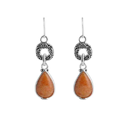 Barse Delicate Orange Jade Teardrop Earring