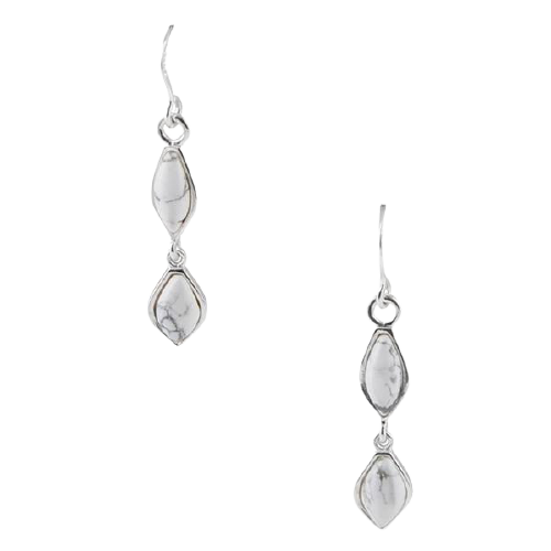 Barse Dually Noted Earring- White Howlite
