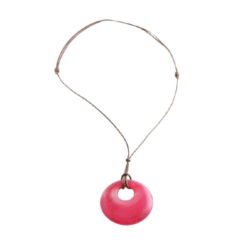 Barse Leather and Fuschia Jade Necklace