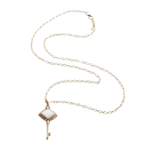 Barse Skeleton Key Necklace-Mother of Pearl