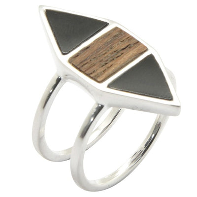 Barse Wood and Onyx Silver Ring