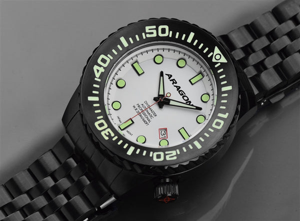 ARAGON Divemaster EVO IP Black 50mm Super Luminova Dial A253WHT