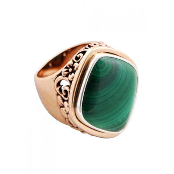 Barse Malachite and Copper Signet Ring