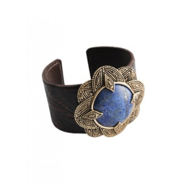 Barse Lapis and Bronze Leather Cuff Bracelet