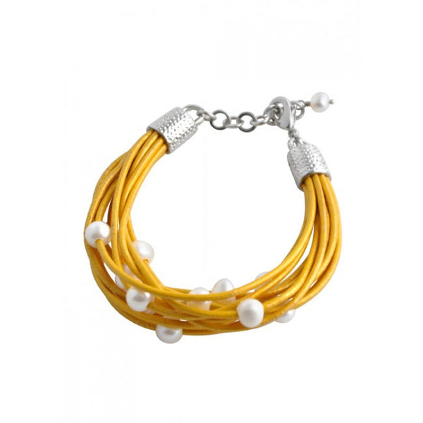 Barse Leather 'n' Pearls Good Times Bracelet-Yellow