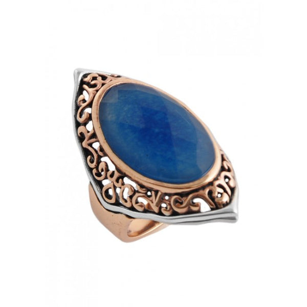 Barse Navy Quartz Oblong Ring
