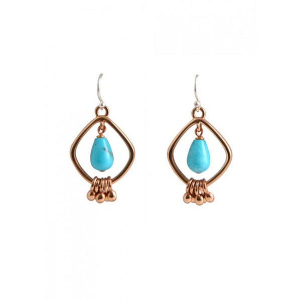 Barse Copper and Turquoise Quadrangle Earring
