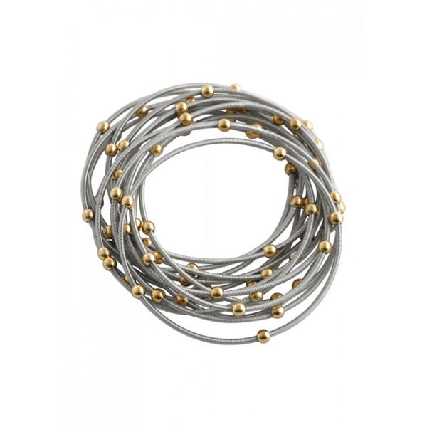 Barse Piano Wire Stretch Bracelet Set- Silver/Gold