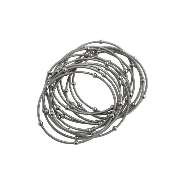 Barse Piano Wire Stretch Bracelet Set- Silver