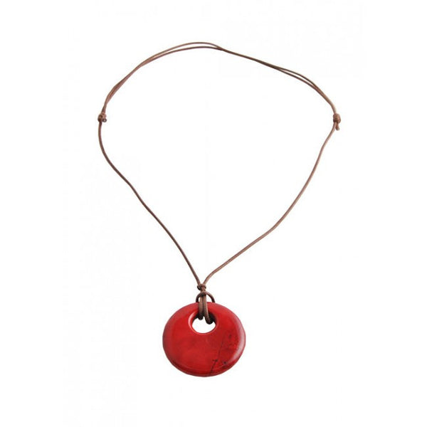 Barse Leather Magnesite Necklace- Red
