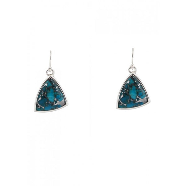 Barse Abstract Zinc and Turquoise Earring