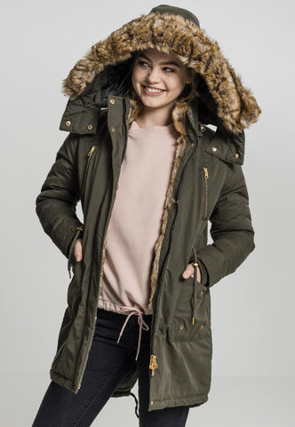 Ladies Imitation Fur Parka