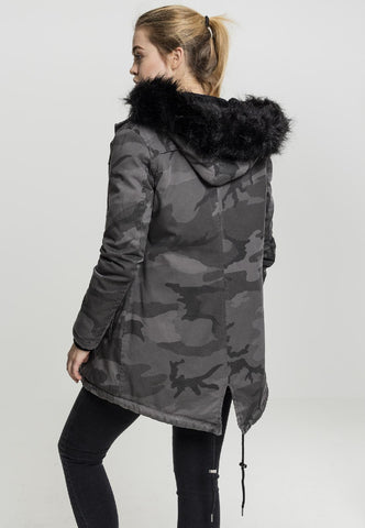 Ladies Overdyed Camo Parka