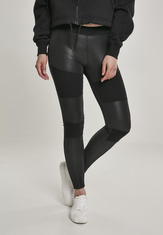Ladies Fake Leather Tech Leggings
