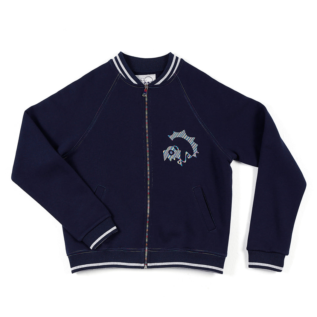 JANE DOE SWEATSHIRT WITH RAINBOW ZIPPER - NAVY - BOO PALA LONDON