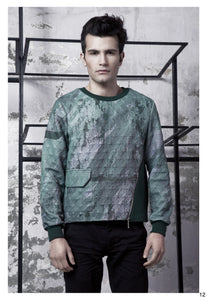Green & Grey Strata Sweatshirt - BOO PALA LONDON