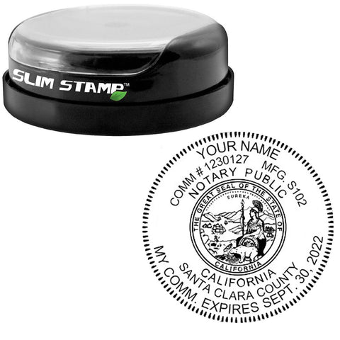 Round Slim California Notary Stamp