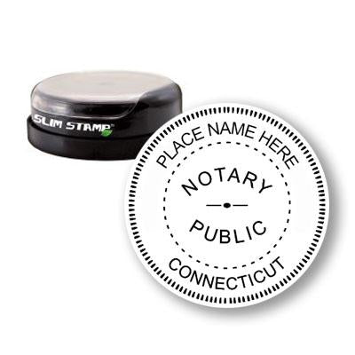 Round Slim Connecticut Notary Stamp