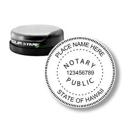 Round Slim Hawaii Notary Stamp