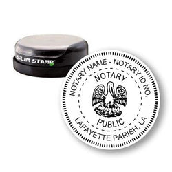 Round Slim Louisiana Notary Stamp