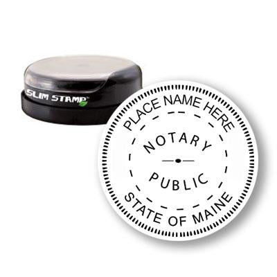 Round Slim Maine Notary Stamp