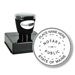 Round Pre-Inked Maine Notary Stamp