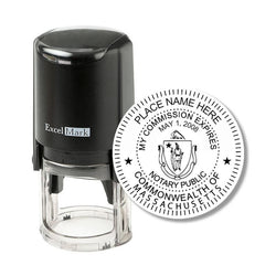 Round Self Inking Massachusetts Notary Stamp