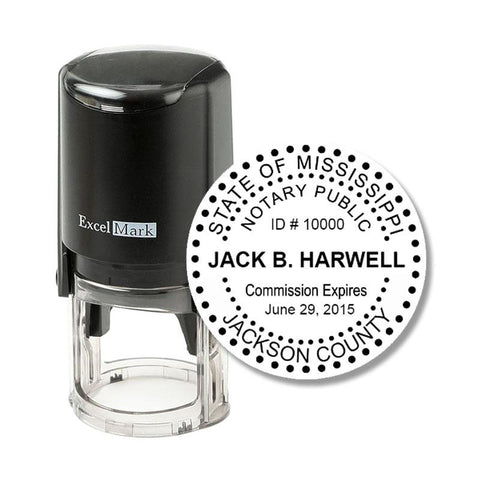 Round Self-Inking Mississippi Notary Stamp