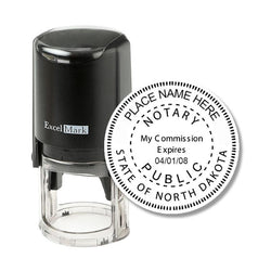 Round Self-Inking North Dakota Notary Stamp