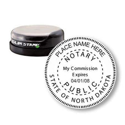 Round Slim North Dakota Notary Stamp