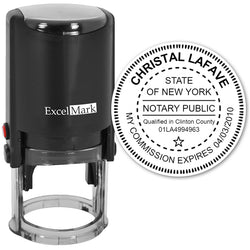 New York Notary Stamp - Round Self-Inking